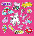 girlish doodle with rainbow and unicorn vector image