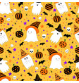 halloween seamless pattern with cute ghosts in vector image