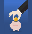 hand collect bitcoin in piggy bank vector image vector image