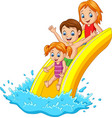 happy family playing water slide vector image