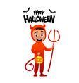 happy halloween cartoon character costume devil vector image vector image