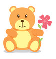 little brown bear holding a flower vector image