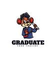 logo graduate mouse mascot cartoon style vector image