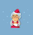 mary claus knitting face mask for santa vector image vector image