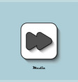 media player icon gray with a shadow on a blue vector image vector image
