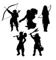 medieval womans black silhouettes vector image vector image