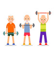 older men perform exercises to barbell lifting vector image vector image