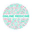 online medicine telemedicine concept in circle vector image vector image