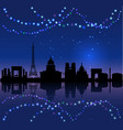 paris silhouete and chritsmas lights vector image vector image