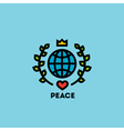 Peace day concept with globe green leaves