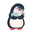 penguin with toy bunny vector image vector image