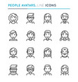 people avatars thin line icon set editable stroke vector image vector image