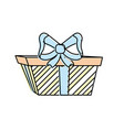 present gift with ribbon bow decoration design vector image