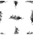 seamless pattern with drawing of feathers vector image vector image