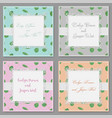 set four beautiful cards with a square frame vector image vector image