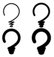 set light bulb in form question mark concept vector image vector image