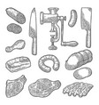 set meat products and kitchen equipment vintage vector image vector image