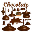 set of chocolate splashes and drops vector image