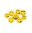 set yellow emoji like crowd people vector image vector image