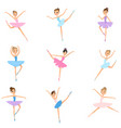 set young girl ballerina colorful textile vector image vector image