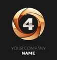 silver number four logo in golden circle shape vector image vector image