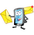 smartphone cartoon character with envelope email vector image vector image