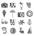 Summer vacation icons set black vector image vector image
