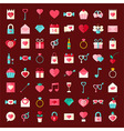 Valentine day flat style icons vector image vector image