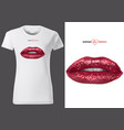 white t-shirt with glitter red lips vector image vector image