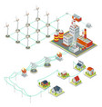 Windmil turbine power 3D isometric clean energy vector image vector image