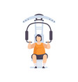 young fat man flexing muscles on trainer gym vector image vector image