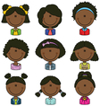 African American girls avatar vector image