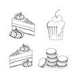 cakes cupcakes and pastry desserts muffin vector image