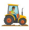 a black happy farmer in tractor on a rural farm vector image
