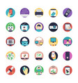 a pack of internet flat icons vector image vector image