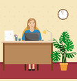 a woman in the office at the desk with a pile of vector image vector image