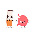 angry scary cigarette kill stomach character vector image