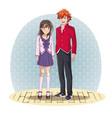 anime couple manga cartoon vector image