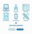 app development thin line icons set vector image