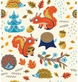 Autumn seamless pattern with squirrels leaves vector image vector image