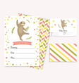 baby shower invitation card with cute sloth vector image vector image