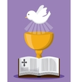 bible dove cup gold religion icon graphic vector image vector image