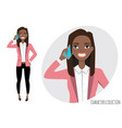 black african american girl is calling by vector image vector image