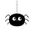 black spider silhouette hanging on dash line web vector image vector image