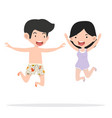 boy and girl couple swimming pool party vector image vector image