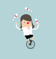 businesswoman juggling while cycling with red nose vector image