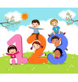 cartoon kids with 123 numbers vector image vector image