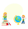 children learn girl reading boy studying globe vector image vector image