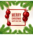 Christmas banner with red balls vector image vector image
