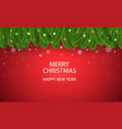 christmas red background with fir branches snow vector image